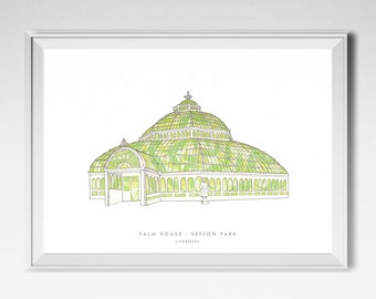 Palm House | Sefton Park | Liverpool Print | Exotic Plants | Greenhouse illustration | Tropical Plants | Liverpool Poster | Liverpool