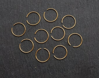 Set of 10 gold coloured nose rings, tiny nose hoop, nose hoop, thin nose ring, gold nose ring, nose piercing, body jewellery,