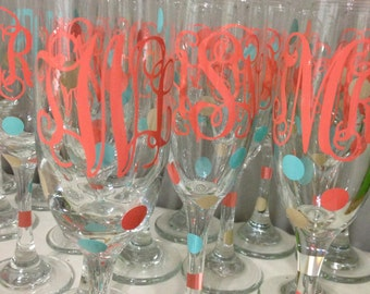 Personalized Bridal Party Champagne Glasses