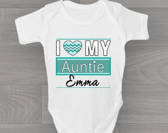 I love my auntie etsy personalised i love my auntie baby grow cute unique vintage style bodysuit baby gift negle Images