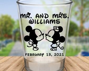 Custom Classic Disney Themed Wedding Favor Shot Glasses