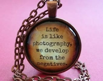 Photography Quote Necklace | Glass Pendant | Inspirational Quote | Photographer Gift  | Free Gift Box | Life Quote