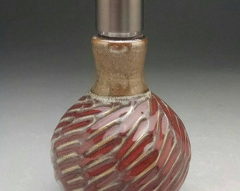 "Red & Earthtone Soap Dispenser, Lotion Pump  with Stainless Steel Dispenser  Bronze or Silver tone Pump. ""Ready to Ship"""