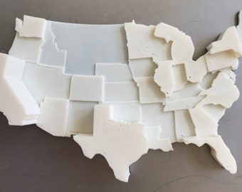 3D Printed Map | Infographic Fridge Magnet | Electoral Votes Data Visualization