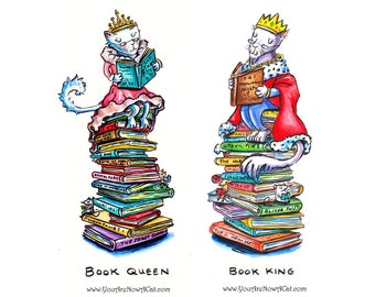 Book King and Queen Prints and Cards- New Cat Designs!