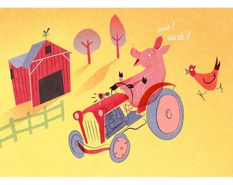 Pig Art Print, Playful Pig, Farm Yard Nursery Art, Kids Bedroom Art, Childrens Print