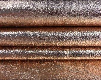 Rose Gold Metallic leather fabric, gold hide, metallic skin, metallic print genuine lambskin leather material,ROSE GOLD CRUNCHY, 591, 0.7 mm
