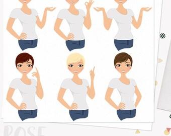 Character woman clipart, girlboss, planner girl, pretty girl, digital blog clipart, working mom, blonde, brunette, redhead set (Rose  L240)