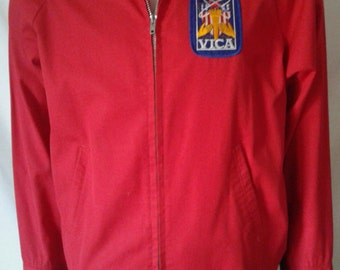 Vintage 70's men's sport jacket with VICA patch red color size medium