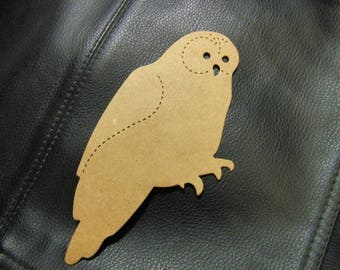 Large Owl Die Cut from Kraft Chipboard 3.5 x 5 inches Tall  Pack 4