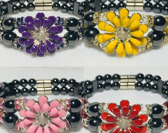 Magnetic Hematite Therapy Bracelet, Spring Flowers, High Power Magnetic