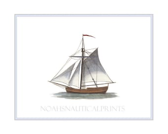 Sailing Yacht in Full Sail. Marine Drawing of Sailing Yacht Hand Painted Wall Art for Nautical and Marine Home Decor. Sailing Ship Print