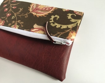 Brown and Maroon Floral Fold Over Clutch, Clutch Purse, Vinyl Fold Over Clutch
