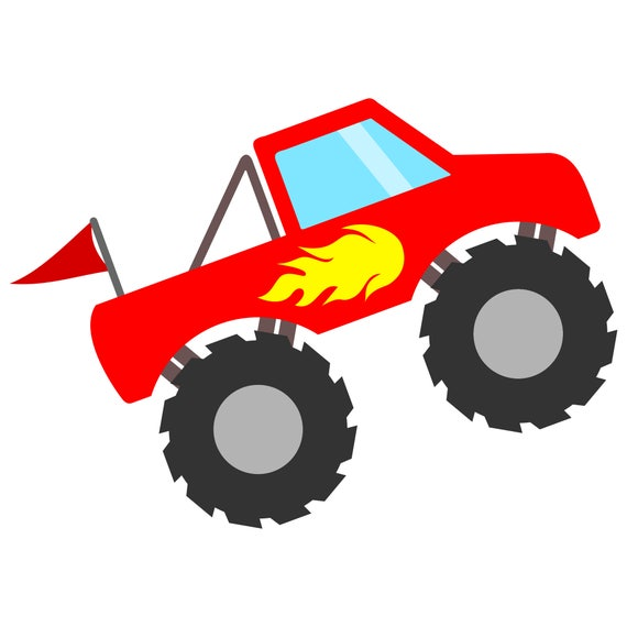 red monster truck svg file with flames and flag monster truck rh etsy com monster truck clip art free monster truck tire clipart