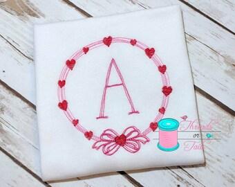 Valentine's Applique Shirt - Girls Valentine's Shirt - Valentine's Monogram Shirt - Valentine's Day Shirt - Valentine's Monogram Frame