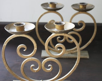Pair of Gold Painted, Wrought Iron, Art Deco Candle Holders