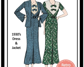 1930s  Afternoon Frock and Jacket  Sewing Pattern - Full Size PDF Dress Sewing Pattern - Pdf  Instant Download