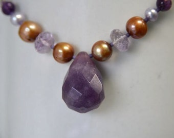 Purple Jade and Pearl Necklace with Pink Amethyst, Purple Amethyst, Golden Brown Freshwater Pearls and Lavender Glass Seed Beads