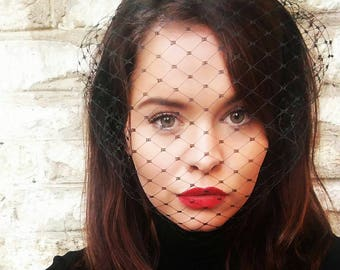 Black veil headband Merry widow fascinator veil birdcage veil funeral veil voilette wedding veil bachelorette veil gothic bride veil Beyonce