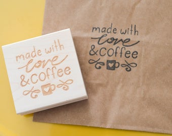 Etsy Shop Stamp, Made With Love and Coffee, Shipping Stamp, Packaging Stamp, Stamp for Etsy Shop, Stamp for Packages, Snail Mail, Happy Mail