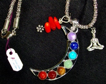 Reiki Healing Necklace - 8 Gemstones, Yoga Charm, Red Coarl pendant with Sterling Silver Flower, RedRobinArt, Grigsby Gallery and Gifts