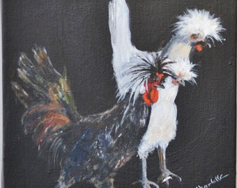 3 Chickens Acrylic Painting on stretched canvas