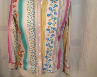 Harold's Women's Floral and Stripes button up blouse shirt top, blue pink yellow Small