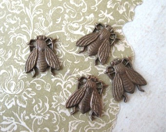 Oxidized Brass Bees or Flies Flat Stampings US Made 15mm (4)