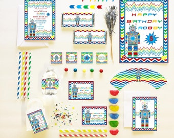 ROBOT Party COLLECTION ~ Personalized Printable Download