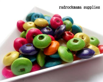 Mixed Color Saucer Rondelle Dyed Wood Spacer Beads Jewel Tone Tropical Mix  8x4mm   -B1B2-1