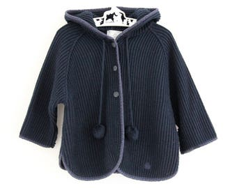 Vintage French ribbed knitted acrylic navy cardigan with hood and pompom cord detail, age approx 2 years, made by Coudé mail