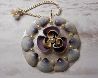 Seashell Wedding Favor - Purple - Holiday Ornament