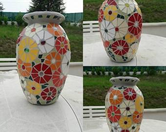 Floral ceramic mosaic vase