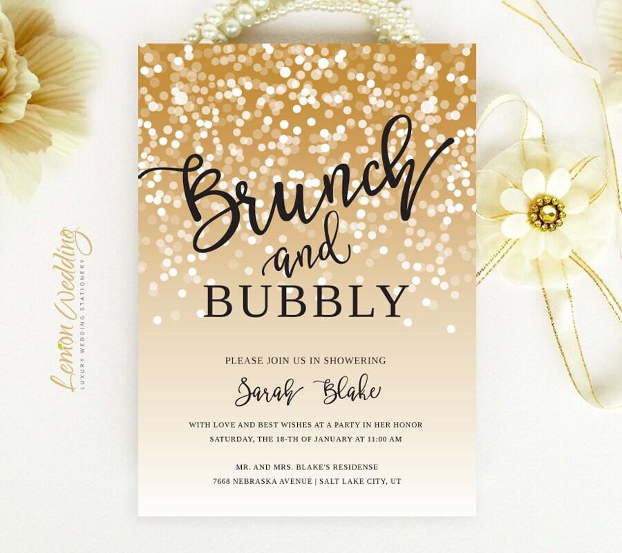 Brunch And Bubbly Bridal Shower Invitations Gold Confetti