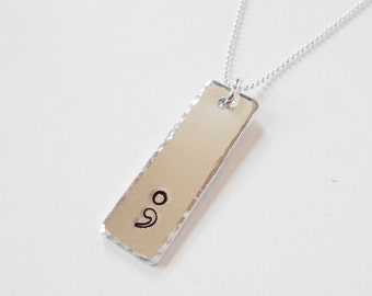 semi colon pendant necklace, hand stamped aluminium pendant necklace, sterling silver stainless steel chain, semicolon jewelry