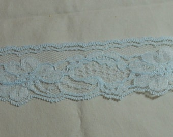 Vintage Light Blue Lace - 2 Inches Wide - Flat Lace - Sold by the Yard