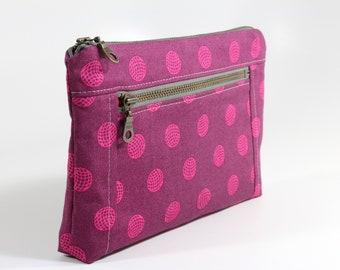 Magenta Double Zipper Bag