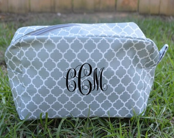 Personalized Cosmetic Tote-Grey Quatrefoil