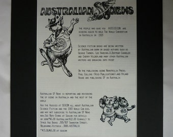1970s Vintage Australian Advert, Worldcon 1983 Print, Science Fiction Convention, Aussiecon Wall Art, Available Framed, Sci-Fi Art, Kangaroo
