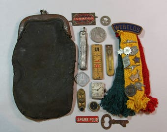 Vintage Assemblage Lot- Webelos Cub Scout Pins- Leather Coin Purse- Token- Knife  Embellishment- Tobacco Plug- Found Objects