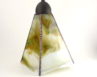 Stained Glass Ceiling Light - Modern Hanging Lamp - Olive Green and Amber - Pendant Lighting - Art Glass Shade - Rustic Home Decor