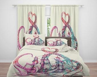 Octopus Bedding, Steam Punk Nautical -Octopus Tentacles, Grunge-Beige  , WaterColor Kraken  Comforter, Duvet Cover, Duvet Set , Bedding Set
