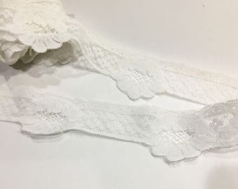 White Scallop Floral Lace Trim, sewing trim embellishment