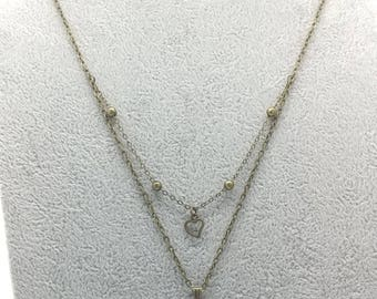 Layered Cat and Heart Necklace ~ Bronze
