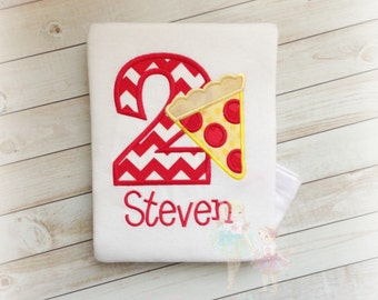 Pizza birthday shirt - pizza party shirt - pizza themed birthday - personalized pizza shirt - custom embroidered pizza shirt