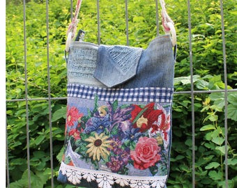 Messenger bag, Sling bag, jeans pocket, country house style, Upcycling