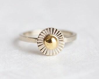 Sun Ring, Sunshine Ring, Sunray ring, gold Sun Ring, Yellow gold ring, White gold ring, Unique Gold Ring