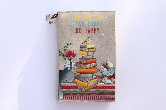 "Adjustable pocketbook illustrated linen ""drink tea read books be happy"""
