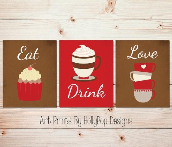 Kitchen Art Red: Red Kitchen Decor Eat Drink Love Coffee Wall Art Tea Art
