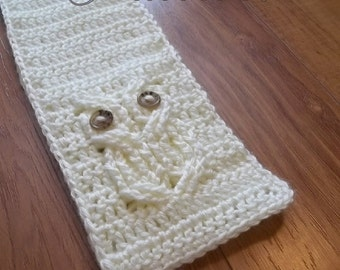 Its a Hoot, An Owl Scarf Crochet Pattern, child and adult sizes.